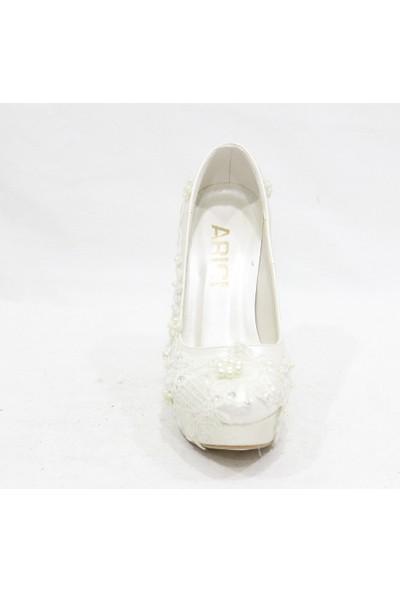 Arıcı Güpür İşlemeli Beyaz Platform Gelinlik Ayakkabısı