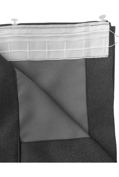 Belle Cose Country Tarz Hasır Termal Karartma Blackout Gri Fon Perde Tek Kanat 100 x 270 cm