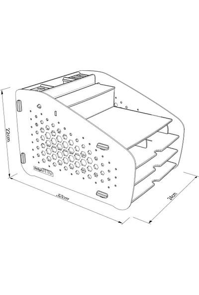 Design Otto Fxm Hexa A4 Evrak Rafı Masaüstü Organizer Düzenleyici Siyah