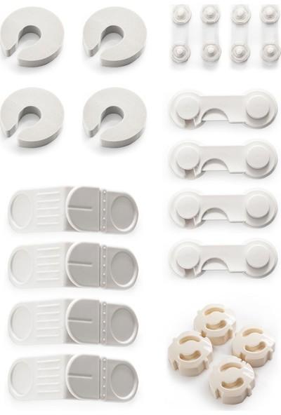 Ideal Baby 4'er Sünger Kapı Durdurucu+Mini Çok Amaçlı Kilit+Kapak Kilidi+Köşe Kilidi+Priz Kapağı