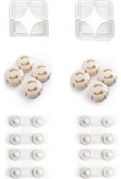 Ideal Baby 8 Adet Köşe Koruyucu + 8 Adet Priz Kapağı + 8 Adet Mini Çok Amaçlı