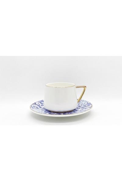 Winterbach Ethnic Desenli Mavi Kahve Takımı 6 Kişilik