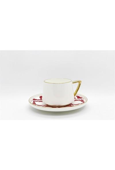 Winterbach Ethnic Desenli Kırmızı Kahve Takımı 6 Kişilik