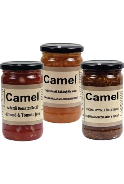 Camel Bademli Domates-Fındıklı Fıstıklı Bal Kabağı-Fındıklı Fıstıklı Incir Reçeli 330 gr x 3'lü