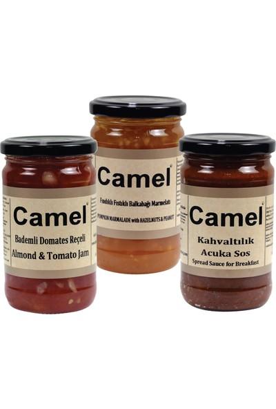 Camel Bademli Domates-Fındıklı Fıstıklı Bal Kabağı Reçeli-Kahvaltılık Acuka Sos 330 gr x 3'lü