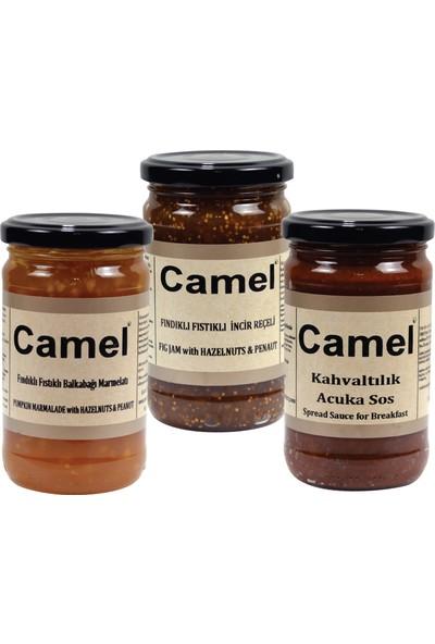 Camel Fındıklı Fıstıklı Bal Kabağı-Fındıklı Fıstıklı Incir Reçeli-Kahvaltılık Acuka Sos 330 gr x 3'lü