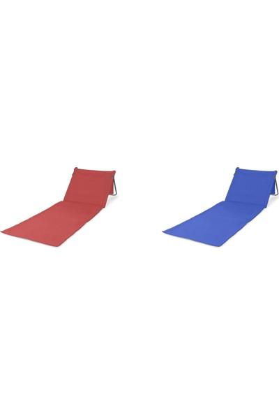 İntoku 2'li Katlanabilir Pratik Plaj Şezlongu Çanta Olabilir Kırmızı ve Mavi