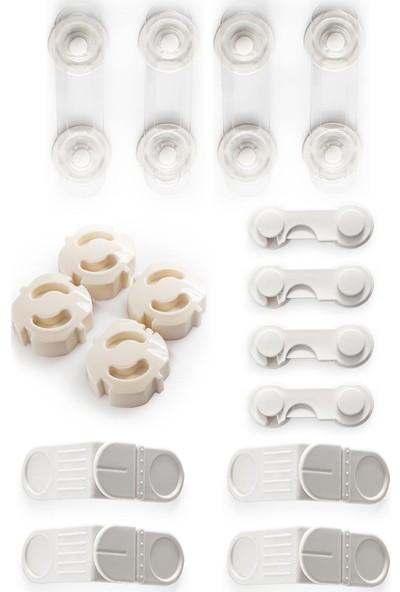 Ideal Baby 4'er Adet Mini Çok Amaçlı Kilit + Kapak Kilidi + Priz Kapağı + Köşe Kilidi