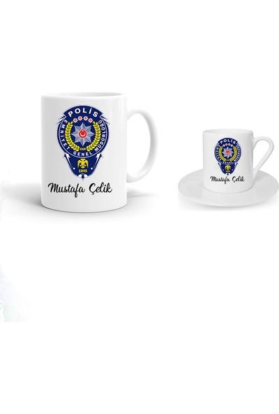 Ayzi Tasarım Kişiye Özel Polis Tasarım Kupa Bardak ve Kahve Fincanı Hediye Seti
