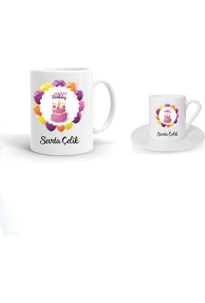Ayzi Tasarım Kişiye Özel Doğum Günü Tasarım Kupa Bardak ve Kahve Fincanı Hediye Seti
