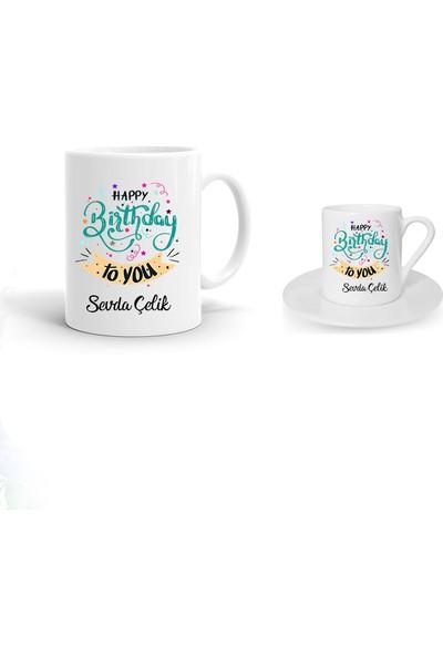Ayzi Tasarım Kişiye Özel Doğum Günü Hediyesi Kupa Bardak ve Fincan Seti