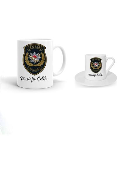 Ayzi Tasarım Kişiye Özel Özel Harekat Polis Tasarım Kupa Bardak ve Kahve Fincanı Hediye Seti