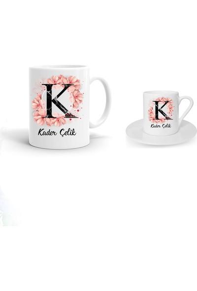 Ayzi Tasarım Kişiye Özel Çiçekli Harf Tasarım Kupa Bardak ve Kahve Fincanı Hediye Seti