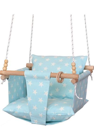 Berra Hayat Bebek Salıncağı Tavana Asılan Ahşap Mavi- Yıldız Modelli Salıncak