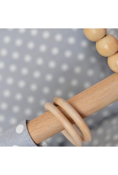 Berra Hayat Bebek Salıncağı Tavana Asılan Ahşap Beyaz Gri Puantiyeli Modelli Salıncak