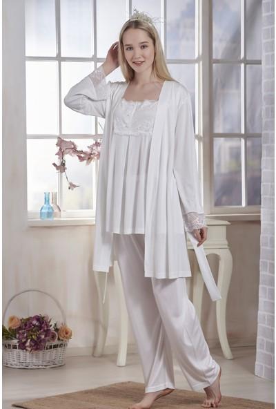 Emose Dantelli Kadın Lohusa Sabahlıklı Pijama Ekru