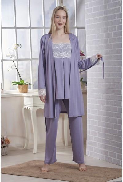 Emose Dantelli Kadın Lohusa Sabahlıklı Pijama Lila