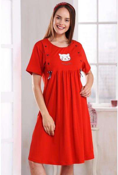 Emose Lohusa Kadın Gecelik Kırmızı