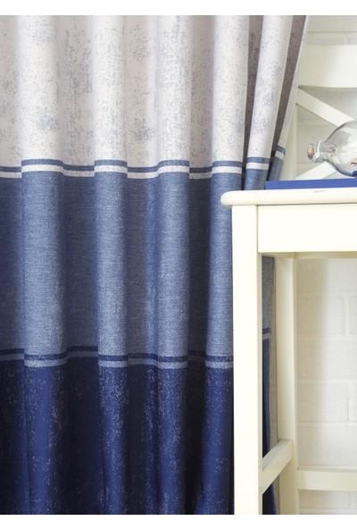 Massarelli Fon Perde Üç Renk Mavi Tonları 1-2 Seyrek Pile 60 x 260 cm