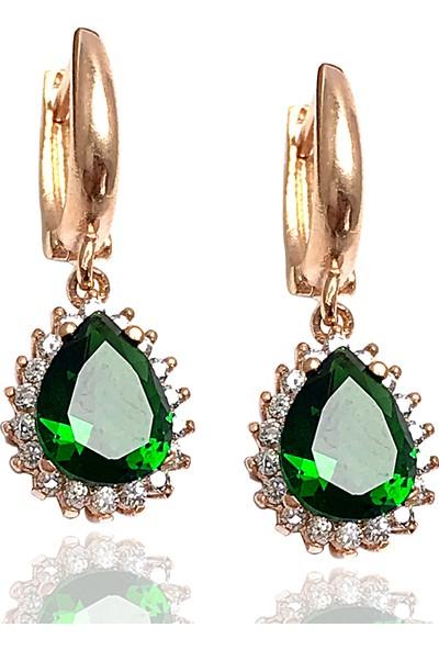 Midyat Gümüş Dünyası Damla Model Yeşil Taşlı Gümüş Kadın Küpe