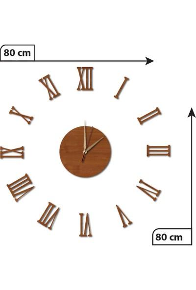Dekolia Göbek Duvar Saati Büyük Ahşap Romen Rakamlı ART1131