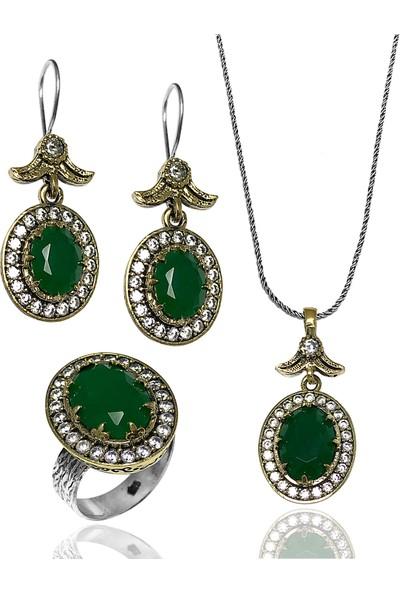 Midyat Gümüş Dünyası Oval Model Yeşil Taşlı Model Kadın Üçlü Set