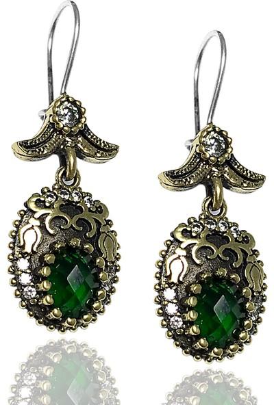 Midyat Gümüş Dünyası Otantik Yeşil Taşlı Model Kadın Üçlü Set