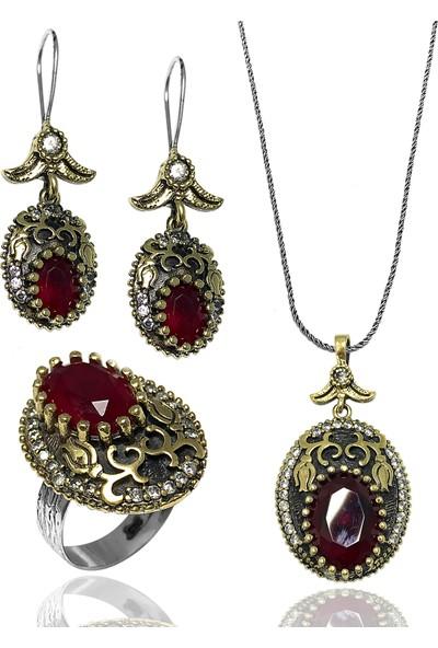 Midyat Gümüş Dünyası Otantik Kırmızı Taşlı Model Kadın Üçlü Set