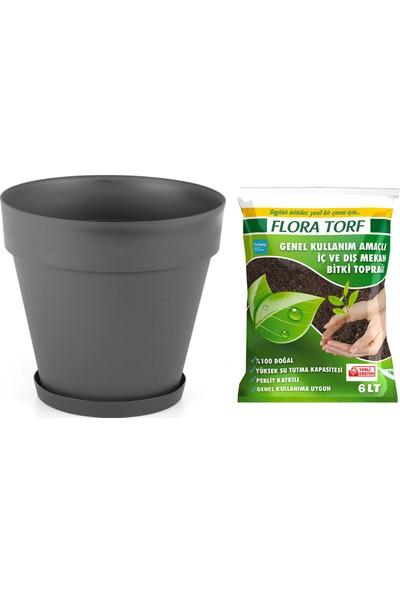 MF Botanik Yalı Saksı 6 lt + Antrasit Flora Torf 6 lt
