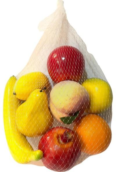 Nettenevime Yapay Meyve 8 Adet Portakal Limon Mandalina Muz Nar Armut Şeftali Elma