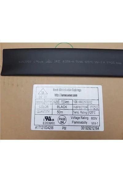 Woer Daralan Makaron 25.4mm Siyah 10 m