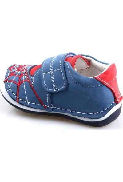 Rüzgar Bebe Erkek Çocuk Mavi Deri İlk Adım Ayakkabı