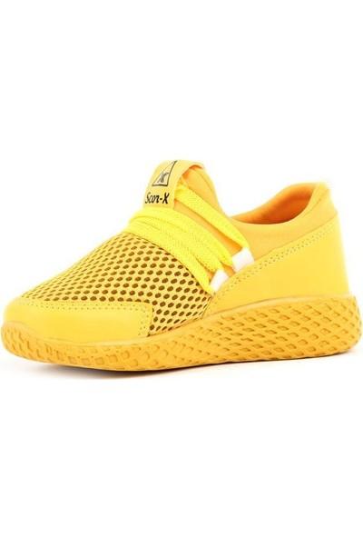 Scor-X Bağcıksız Unisex Çocuk (26-35) Sarı Spor Ayakkabı