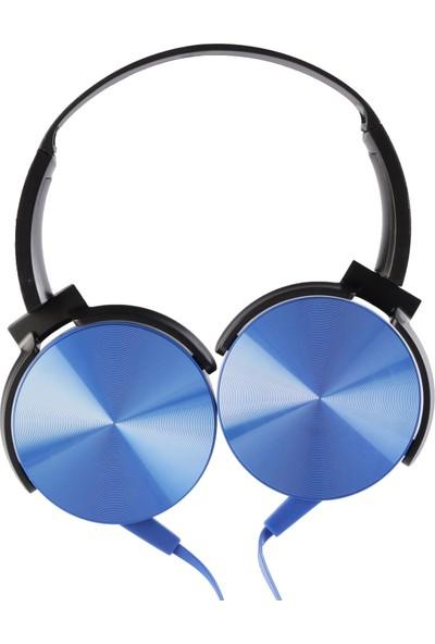 MF Product Acoustic 0106 Mikrofonlu Kablolu Kulak Üstü Kulaklık Mavi