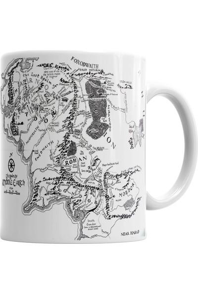 Baskı Dükkanı Yüzüklerin Efendisi Lord Of The Rings orta Dünya Haritası Kupa