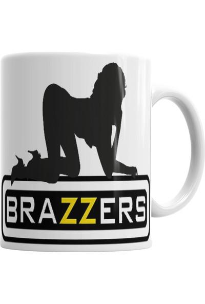 Baskı Dükkanı Brazzers Logo Kupa Bardak Porselen