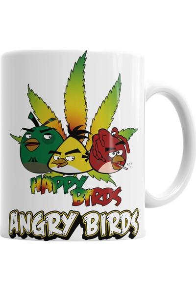 Baskı Dükkanı Angry Bırds Happy Birds Kupa Bardak Porselen