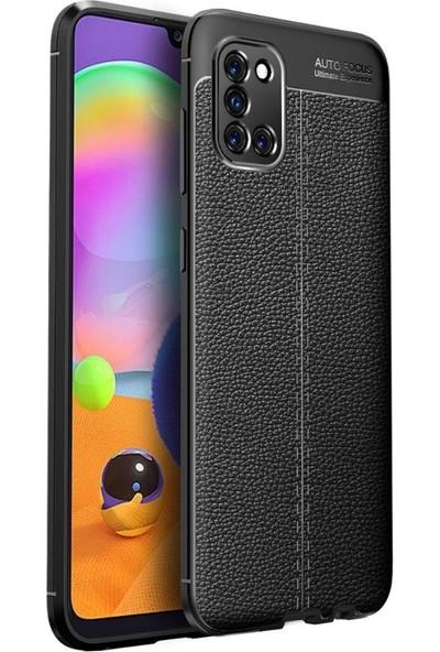 Teleplus Samsung Galaxy A31 Kılıf Deri Dokulu Silikon Siyah + Nano Ekran Koruyucu