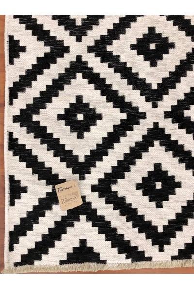 Metraj Halı Çift Taraflı Kilimist 5002 Siyah - Beyaz Piramit 80 x 150 cm