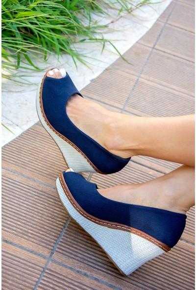 Fox Shoes Lacivert Kadın Dolgu 9674040305