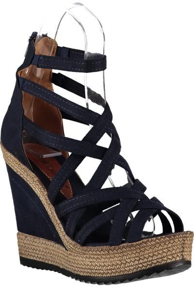 Fox Shoes Lacivert Kadın Dolgu Topuklu Ayakkabı 9674070102