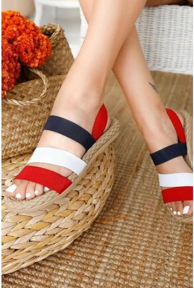 Fox Shoes Kırmızı/Beyaz/Lacivert Kadın Sandalet H306036104