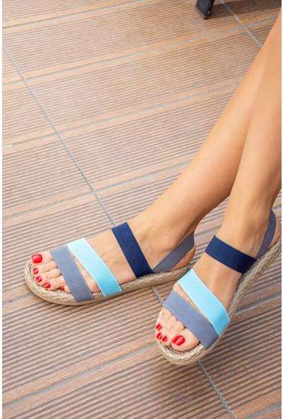 Fox Shoes Gri/Mavi Kadın Sandalet H306036104