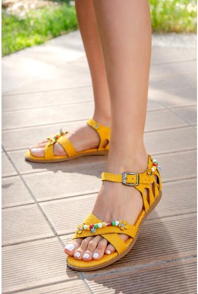 Fox Shoes Sarı Kadın Sandalet H306453317