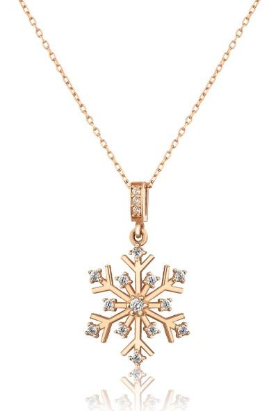 Elika Silver Kadın Kartanesi Model Zirkon Taşlı 925 Ayar Gümüş Kolye