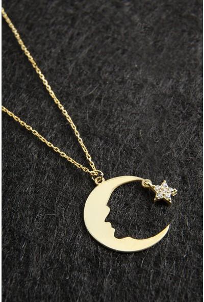 Elika Silver Atatürk Silüetli Ay Yıldız Model 925 Ayar Gümüş Kolye