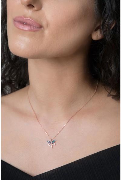 Elika Silver Kadın Yusufçuk Model Mıx Taşlı Rose Kaplama 925 Ayar Gümüş Kolye