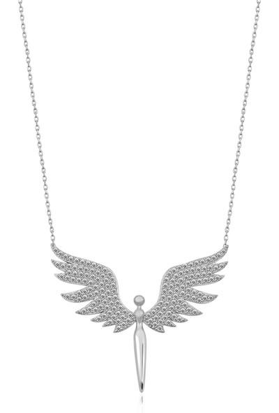 Elika Silver Mikail Meleği Model Beyaz Taşlı 925 Ayar Gümüş Kolye