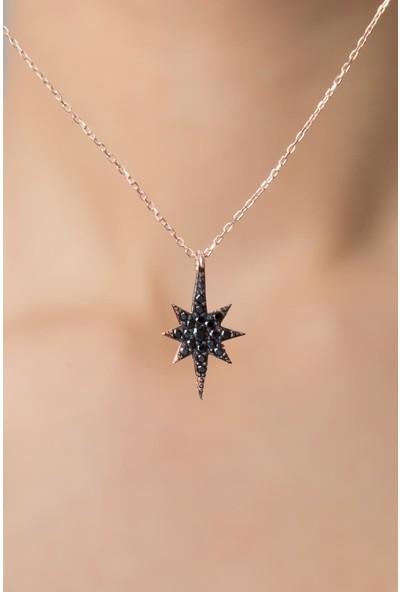 Elika Silver Kadın Kutup Yıldızı Model Zirkon Taşlı 925 Ayar Gümüş Kolye