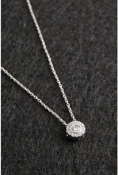Elika Silver Tek Taşlı 925 Ayar Gümüş Kolye